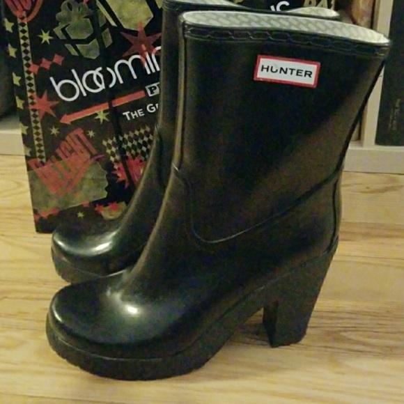 Rare Hunter Arnie black high heel rain boots